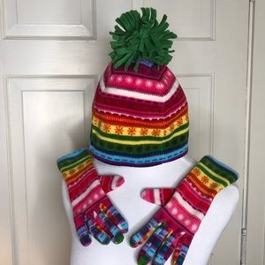 NWT Old Navy bright stripes Beanie and Gloves